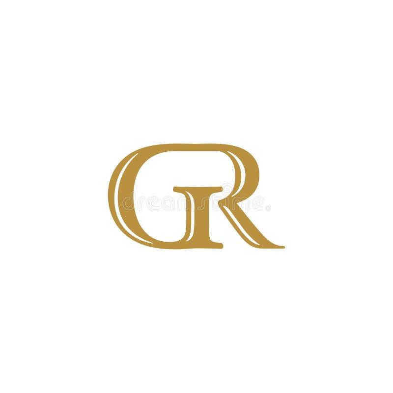 Αρχικός χρωματισμένος χρυσός GR επιστολών logotype διανυσματική απεικόνιση