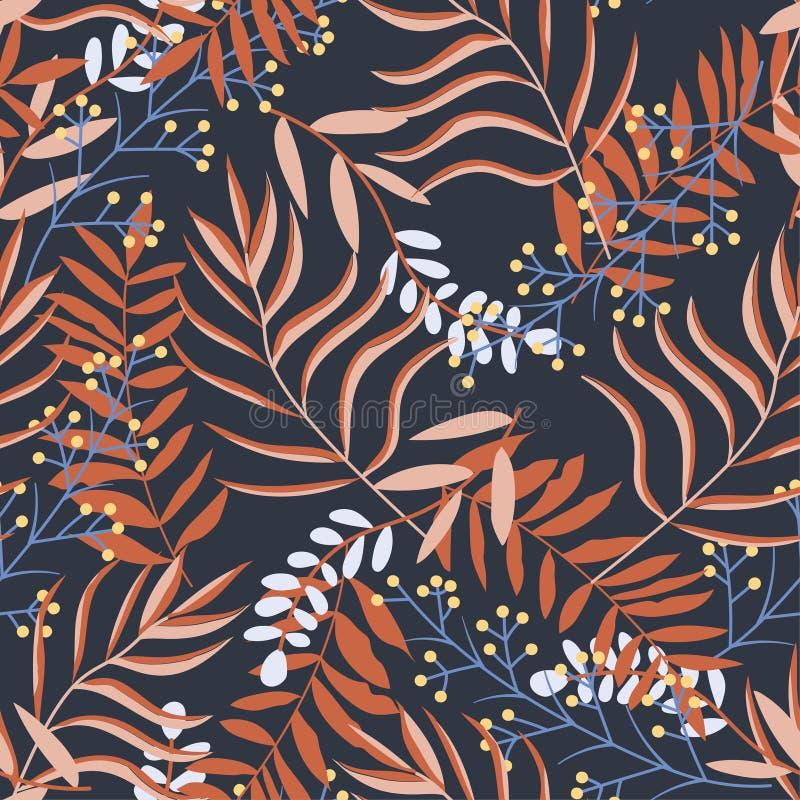 Αρχικό άνευ ραφής σχέδιο με τα φωτεινά τροπικά φυτά και τα φύλλα στο μαύρο υπόβαθρο o Τυπωμένη ύλη ζουγκλών Εκτύπωση και te διανυσματική απεικόνιση
