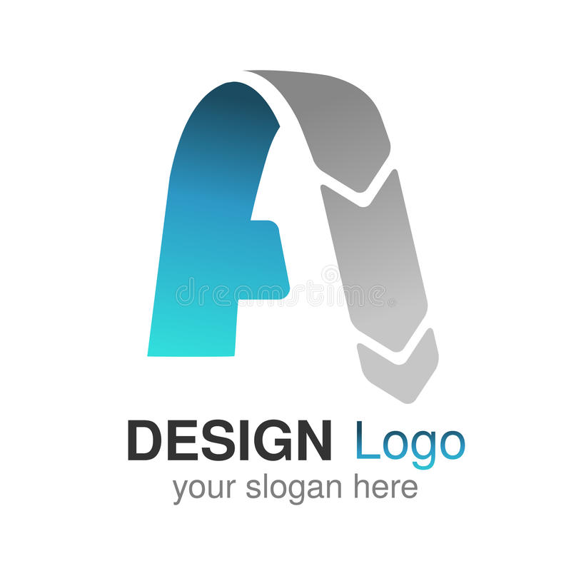 Αρχικό αλφάβητο πηγών Γράμμα Α, εταιρικό σχέδιο λογότυπων, μπλε γκρίζο εικονίδιο εγγράφου, origami διανυσματική απεικόνιση