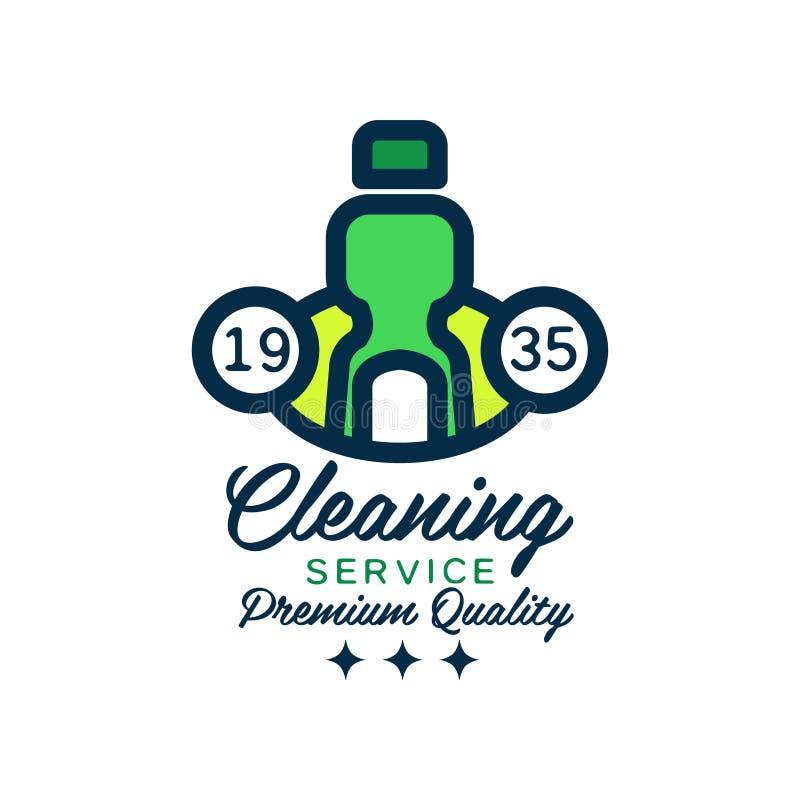 Αρχικό γραμμικό σχέδιο λογότυπων με το πράσινο καθαριστικό μπουκάλι για τον καθαρισμό σπιτιών Υπηρεσίες εξαιρετικής ποιότητας Επί ελεύθερη απεικόνιση δικαιώματος