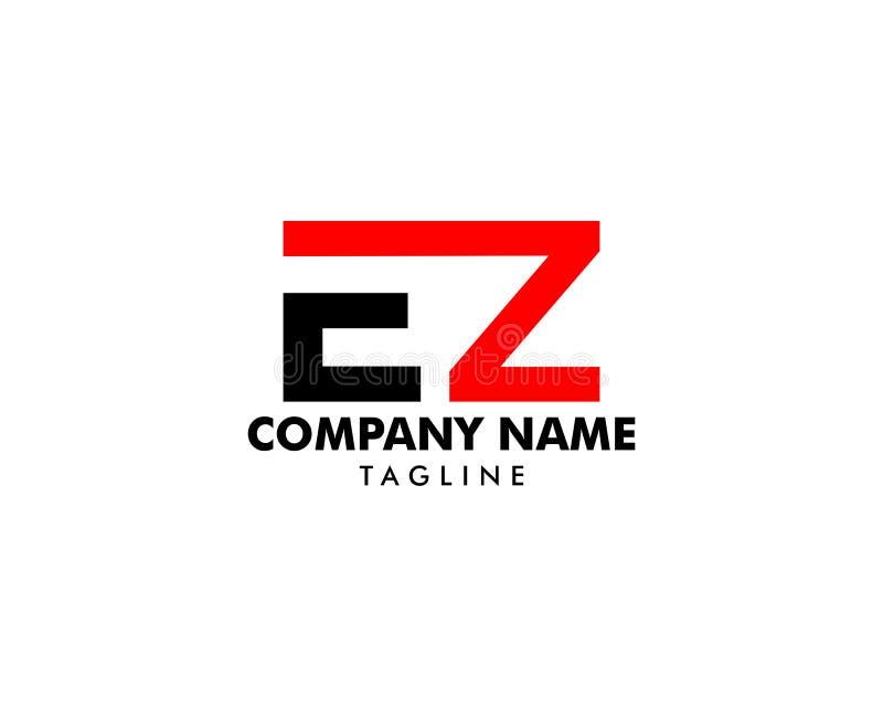 Αρχικό διανυσματικό σχέδιο προτύπων λογότυπων EZ επιστολών απεικόνιση αποθεμάτων