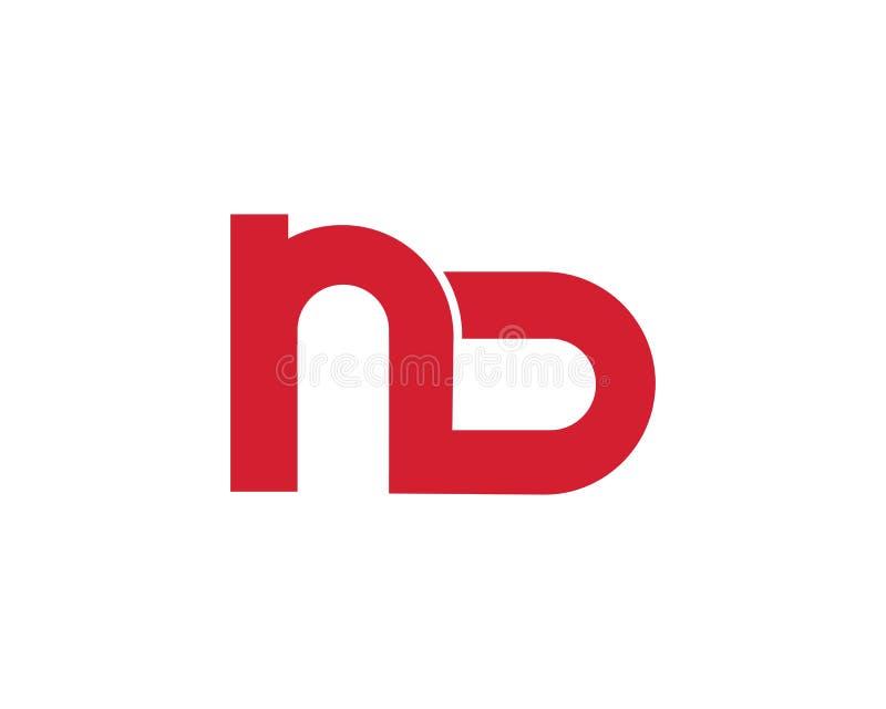 αρχικό εικονίδιο λογότυπων ND για το διάνυσμα επιχειρησιακών προτύπων διανυσματική απεικόνιση
