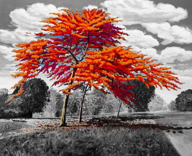 Αρχικό κόκκινο πορτοκαλί χρώμα τοπίων ελαιογραφίας Peacock απεικόνιση αποθεμάτων