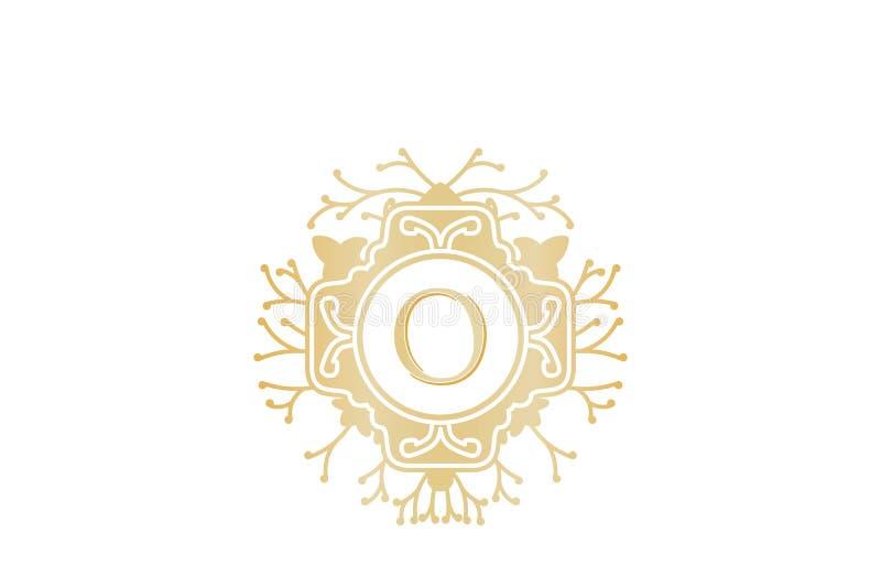 Αρχικό λογότυπο γραμμάτων Ο για το γάμο, μπουτίκ, στοιχείο πολυτέλειας, διανυσματική απεικόνιση ελεύθερη απεικόνιση δικαιώματος