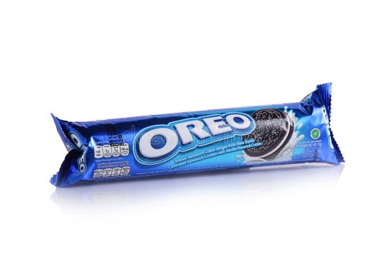 Αρχικό μπισκότο σάντουιτς σοκολάτας Oreo στοκ εικόνες