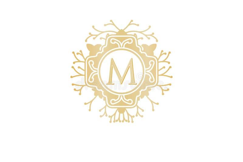 Αρχικό Μ, έμπνευση σχεδίων λογότυπων γαμήλιων μπουτίκ που απομονώνεται στο άσπρο υπόβαθρο ελεύθερη απεικόνιση δικαιώματος