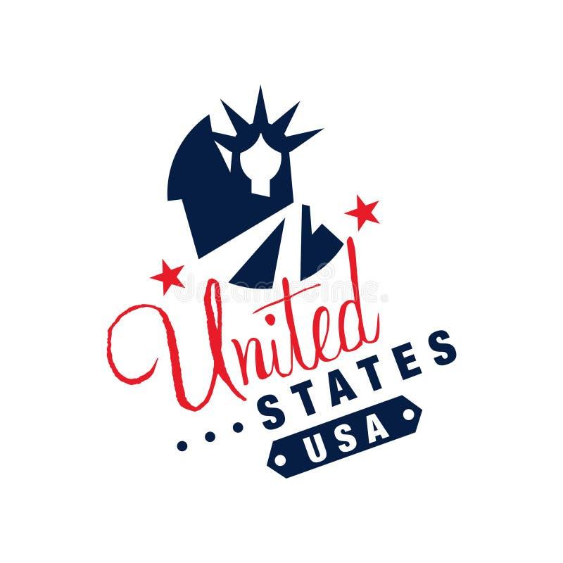 Αρχικό πρότυπο λογότυπων με το μονοχρωματικό σύμβολο των ΗΠΑ Αφηρημένο άγαλμα της ελευθερίας και των αστεριών Χρωματισμένο επίπεδ ελεύθερη απεικόνιση δικαιώματος