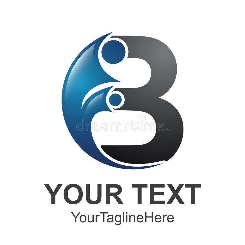 Αρχικό πρότυπο σχεδίου λογότυπων αλφάβητου επιστολών Β με το άτομο swoosh απεικόνιση αποθεμάτων
