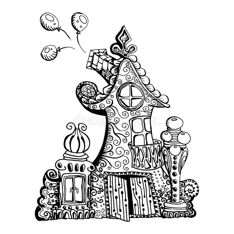 Αρχικό συρμένο χέρι doodle σπίτι νεράιδων ύφους Μπορέστε να χρησιμοποιηθείτε για το σχέδιο σελίδων βιβλίων χρωματισμού παιδιών διανυσματική απεικόνιση