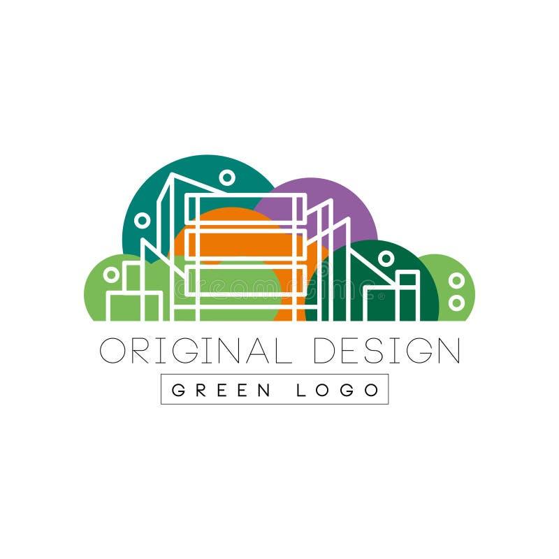 Αρχικό σχέδιο λογότυπων πόλεων με τις πολυκατοικίες ελεύθερη απεικόνιση δικαιώματος