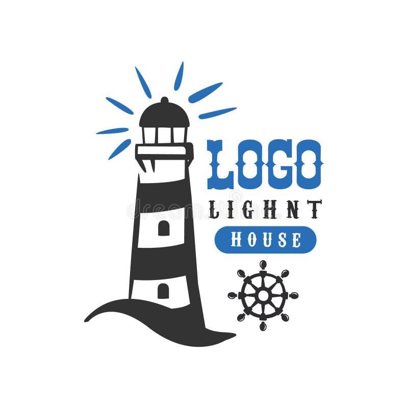 Αρχικό σχέδιο λογότυπων φάρων, αναδρομικό διακριτικό για το ναυτικό σχολείο, αθλητική λέσχη, επιχειρησιακή ταυτότητα, διάνυσμα πρ απεικόνιση αποθεμάτων