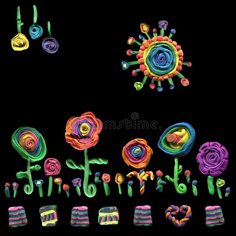 Αρχικό σχέδιο ομορφιάς των floral στοιχείων plasticine εργαλείων για την κατασκευή του εγγράφου υφασμάτων ή δώρων στοκ εικόνες με δικαίωμα ελεύθερης χρήσης