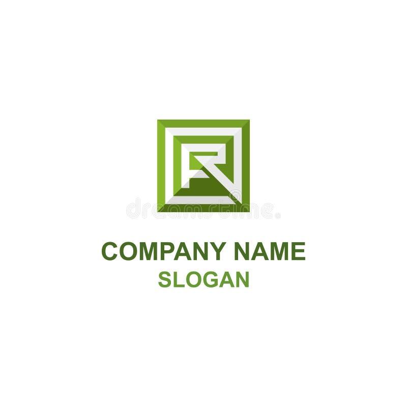 Αρχικό τετραγωνικό λογότυπο επιστολών FR διανυσματική απεικόνιση