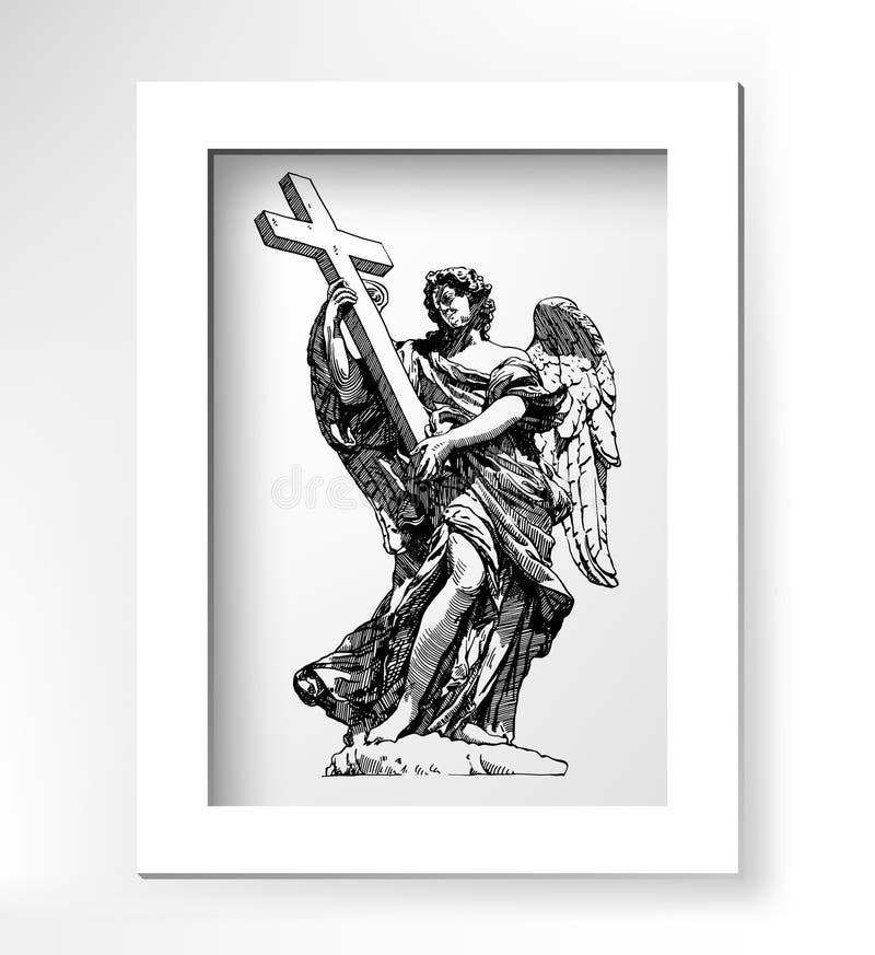 Αρχικό ψηφιακό σχέδιο σκίτσων του μαρμάρινου αγάλματος ελεύθερη απεικόνιση δικαιώματος