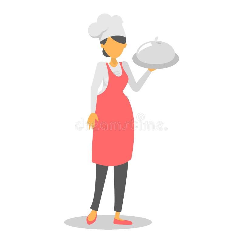 Αρχιμάγειρας γυναικών στο κόκκινο πιάτο εκμετάλλευσης ποδιών απεικόνιση αποθεμάτων