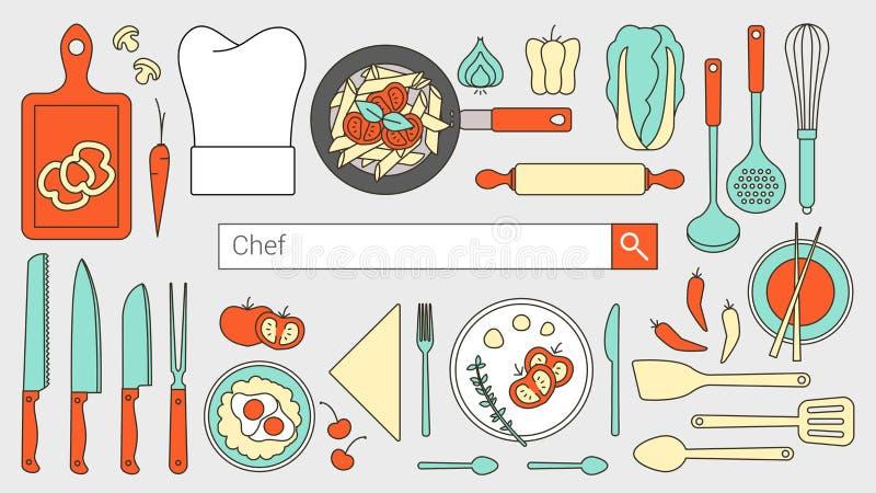 Αρχιμάγειρας και μαγειρεύοντας έμβλημα απεικόνιση αποθεμάτων