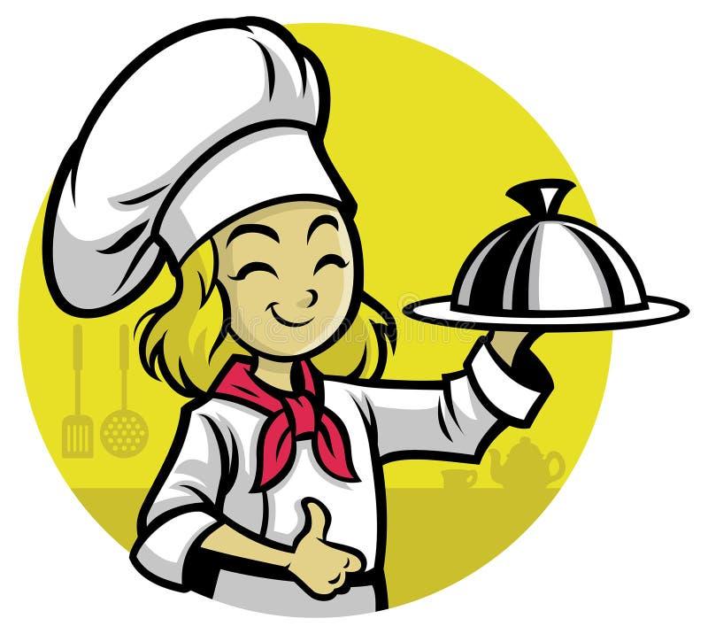 Αρχιμάγειρας κοριτσιών που παρουσιάζει το γεύμα διανυσματική απεικόνιση