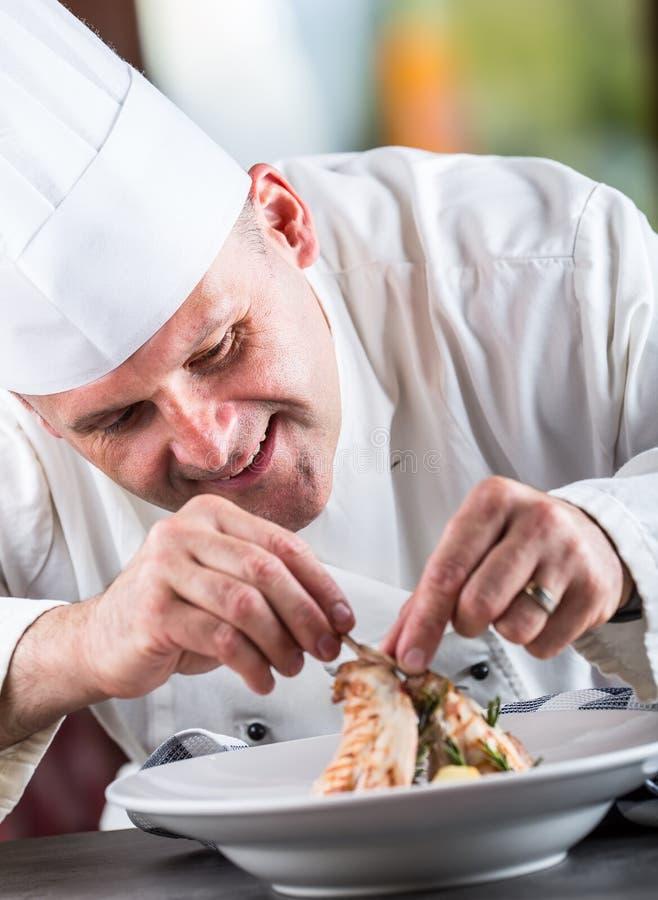 Αρχιμάγειρας Μαγείρεμα αρχιμαγείρων Αρχιμάγειρας που διακοσμεί το πιάτο Αρχιμάγειρας που προετοιμάζει ένα γεύμα Ο αρχιμάγειρας στ στοκ φωτογραφία με δικαίωμα ελεύθερης χρήσης