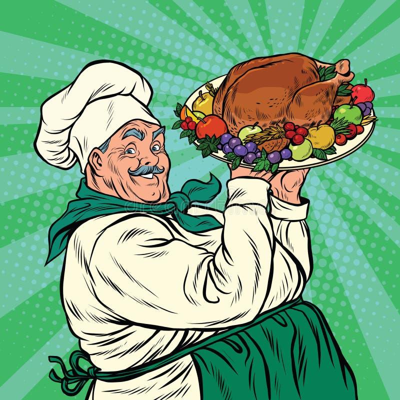 Αρχιμάγειρας με ένα ψητό Τουρκία πιάτων ελεύθερη απεικόνιση δικαιώματος