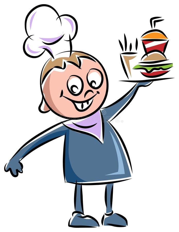 Αρχιμάγειρας με τα πρόχειρα φαγητά απεικόνιση αποθεμάτων