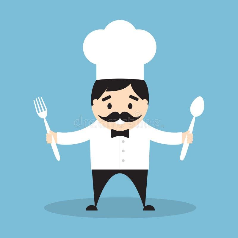 Αρχιμάγειρας με το δίκρανο και το κουτάλι απεικόνιση αποθεμάτων