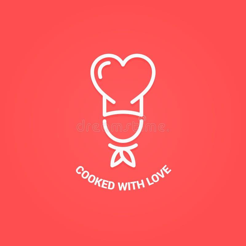 Αρχιμάγειρας με το λογότυπο καρδιών Μαγειρευμένος με την έννοια αγάπης απεικόνιση αποθεμάτων