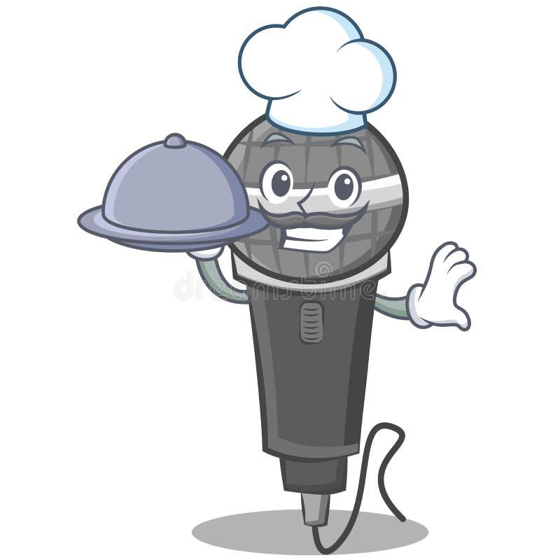 Αρχιμάγειρας με το σχέδιο χαρακτήρα κινουμένων σχεδίων μικροφώνων τροφίμων διανυσματική απεικόνιση