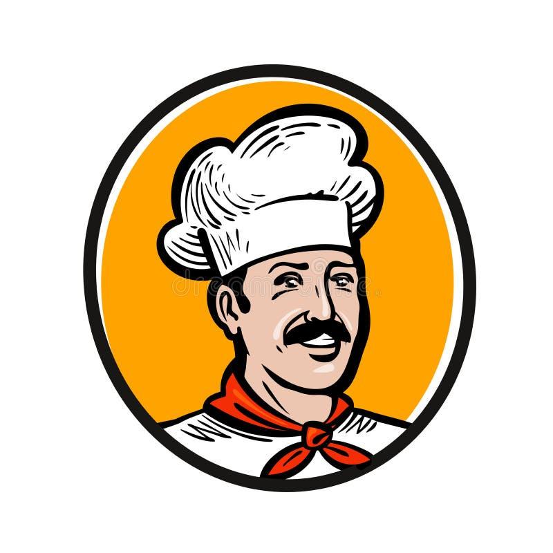 Αρχιμάγειρας, λογότυπο μαγείρων Ετικέτα ή εικονίδιο για το εστιατόριο ή τον τομέα εστιάσεως επιλογών σχεδίου επίσης corel σύρετε  απεικόνιση αποθεμάτων