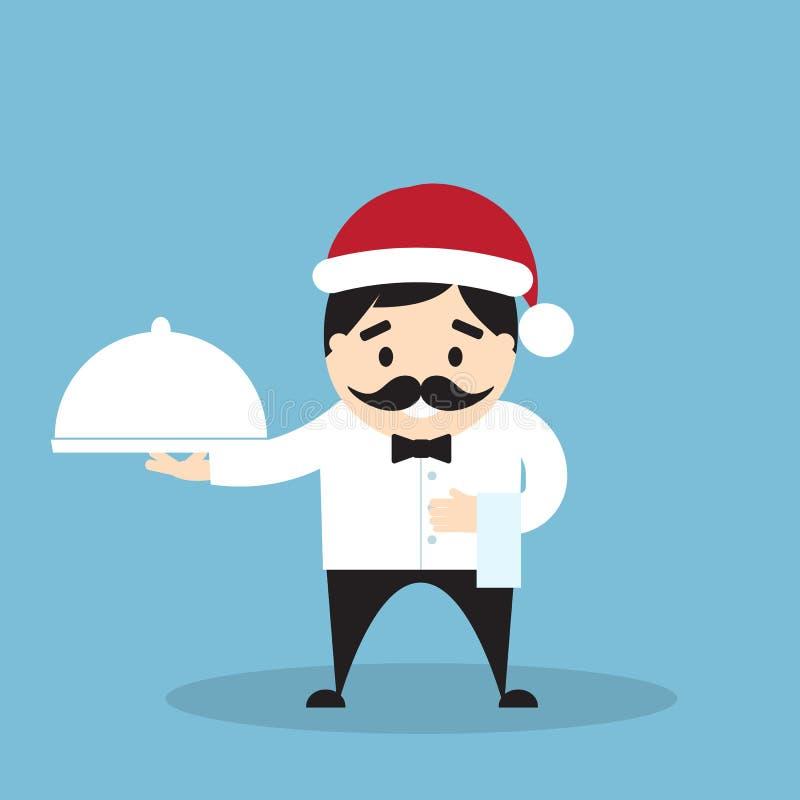 Αρχιμάγειρας στο καπέλο Santa με το cloche και την πετσέτα διανυσματική απεικόνιση