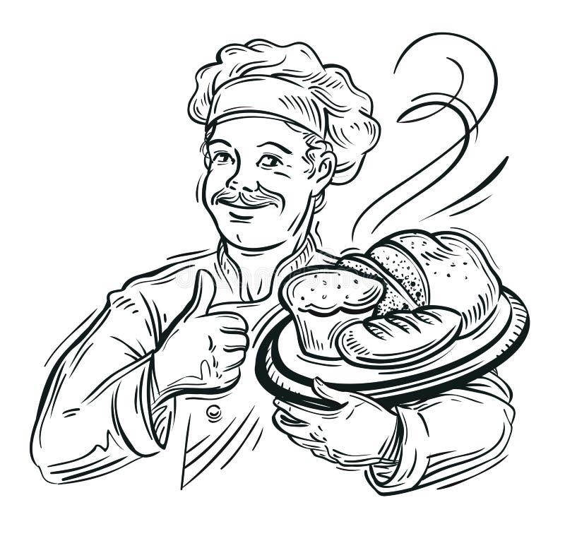 Αρχιμάγειρας Baker και φρέσκο ψωμί ελεύθερη απεικόνιση δικαιώματος