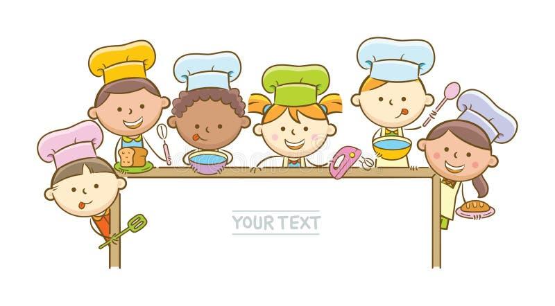 Αρχιμάγειρες και Whiteboard παιδιών διανυσματική απεικόνιση