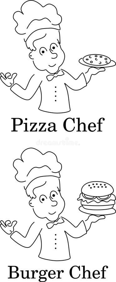 Αρχιμάγειρες κινούμενων σχεδίων του μαγειρέματος, της πίτσας και burger διανυσματική απεικόνιση