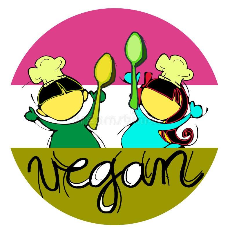 Αρχιμάγειρες παιδιών Vegan διανυσματική απεικόνιση