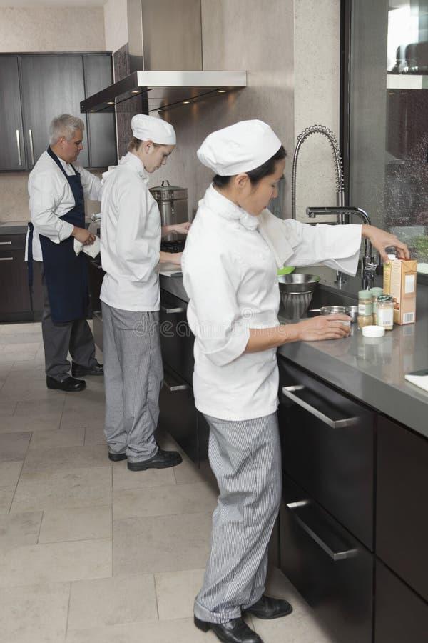 Αρχιμάγειρες που εργάζονται μαζί στην εμπορική κουζίνα στοκ εικόνα με δικαίωμα ελεύθερης χρήσης