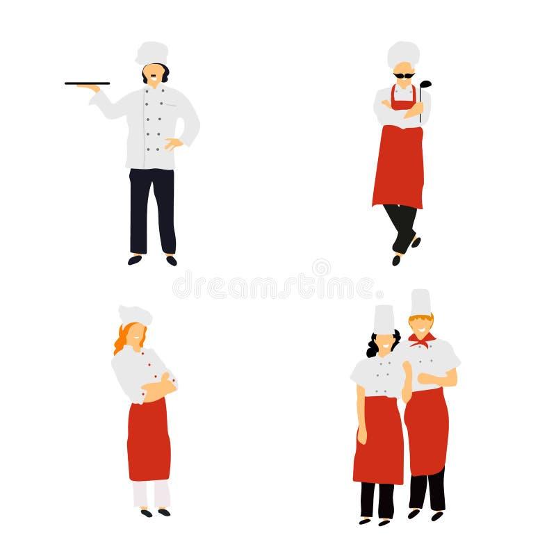 Αρχιμάγειρες στο μαγείρεμα κουζινών εστιατορίων Χαριτωμένοι μάγειρες στα ομοιόμορφα να προετοιμαστεί τρόφιμα να δειπνήσει ή το ξε ελεύθερη απεικόνιση δικαιώματος
