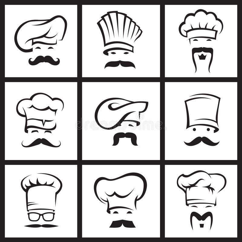 Αρχιμάγειρες Mustachioed που τίθενται ελεύθερη απεικόνιση δικαιώματος