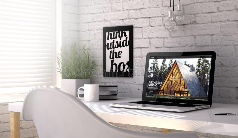 αρχιτέκτονας εργασιακών χώρων lap-top απεικόνιση αποθεμάτων