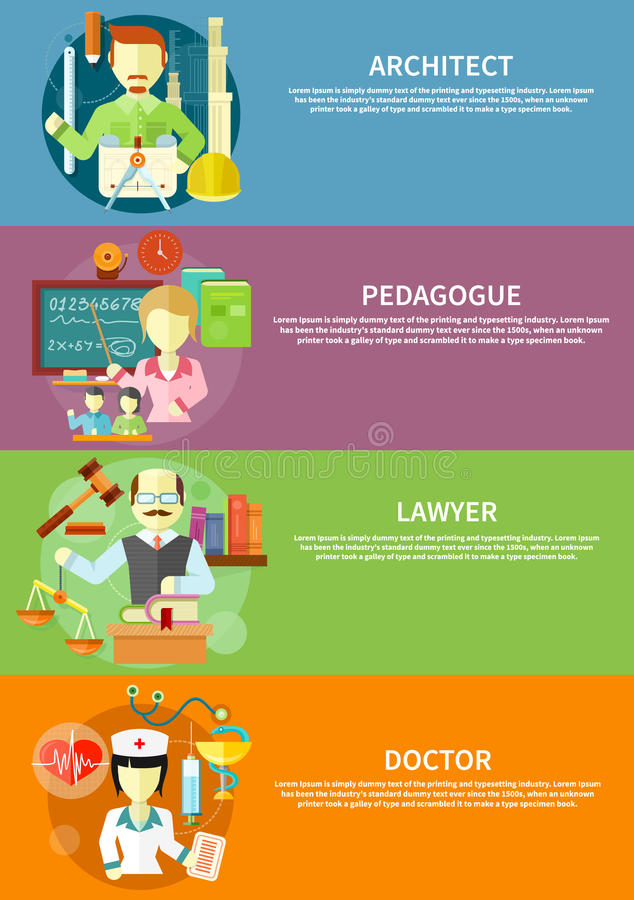 Αρχιτέκτονας, δικηγόρος, γιατρός και παιδαγωγός διανυσματική απεικόνιση