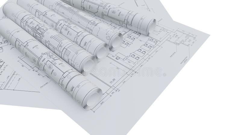 Αρχιτεκτονικά σχέδια Επίπεδος και κυλημένος ελεύθερη απεικόνιση δικαιώματος