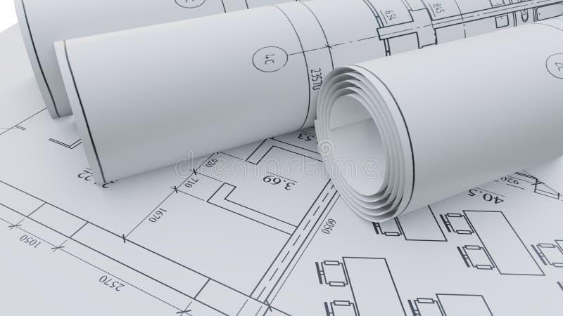 Αρχιτεκτονικά σχέδια Επίπεδος και κυλημένος διανυσματική απεικόνιση