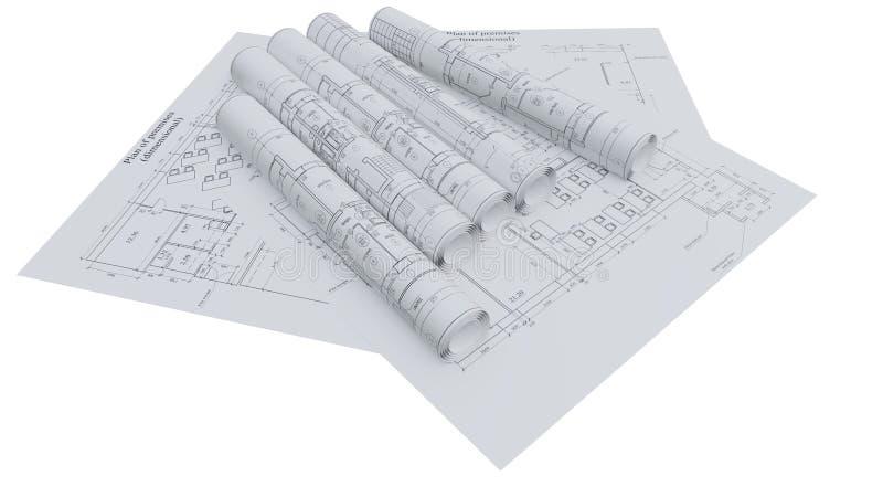 Αρχιτεκτονικά σχέδια Επίπεδος και κυλημένος απεικόνιση αποθεμάτων
