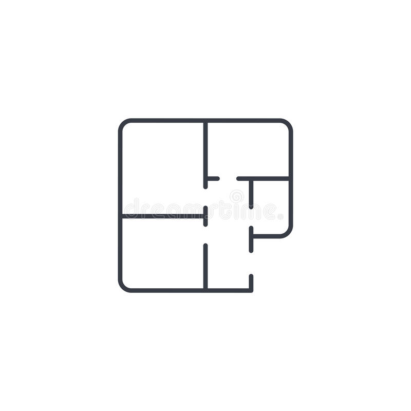 Αρχιτεκτονικά σχέδια λεπτό εικονίδιο γραμμών σχεδίων διαμερισμάτων Γραμμικό διανυσματικό σύμβολο ελεύθερη απεικόνιση δικαιώματος