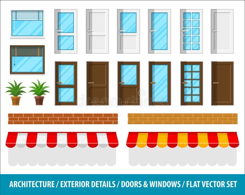 Αρχιτεκτονικές λεπτομέρειες για τα εξωτερικά παράθυρα πορτών σπιτιών διανυσματική απεικόνιση