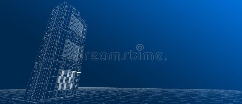 Αρχιτεκτονικής εξωτερικό προσόψεων οικοδόμησης σχεδίου άσπρο καλώδιο-πλαίσιο προοπτικής έννοιας τρισδιάστατο που δίνει την κλίση  απεικόνιση αποθεμάτων