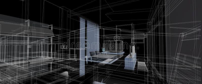 Αρχιτεκτονικής εσωτερικό επίπλων σχεδίου πλαίσιο καλωδίων προοπτικής έννοιας τρισδιάστατο που δίνει το μαύρο υπόβαθρο διανυσματική απεικόνιση