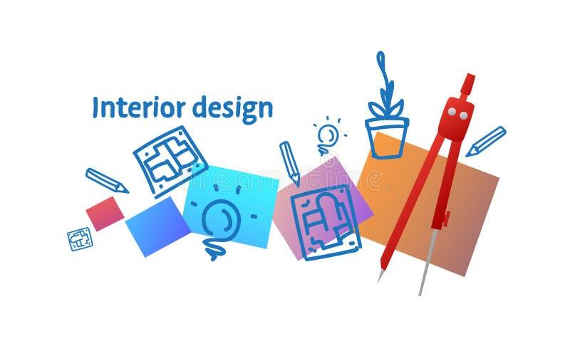 Αρχιτεκτονικής εσωτερικό σχεδίου έννοιας σκίτσο οργάνων σχεδίων πυξίδων τεχνικό doodle οριζόντιο διανυσματική απεικόνιση