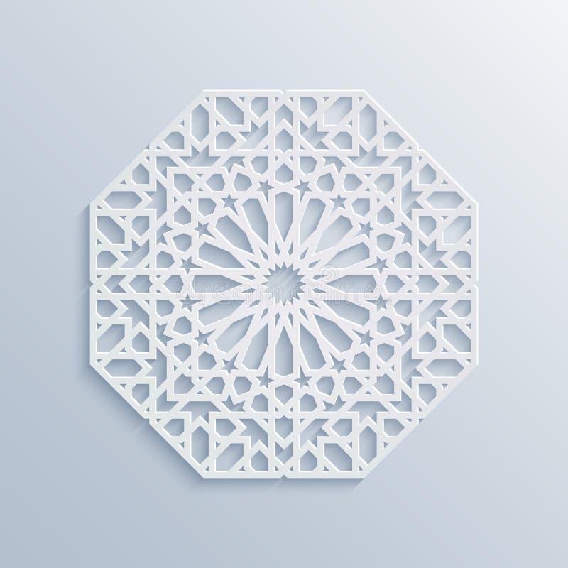 αρχιτεκτονική γεωμετρικό ισλαμικό πρότυπο παλατιών μουσουλμανικών τεμενών συνήθως μουσουλμανικό Διανυσματικό μουσουλμανικό μωσαϊκ ελεύθερη απεικόνιση δικαιώματος