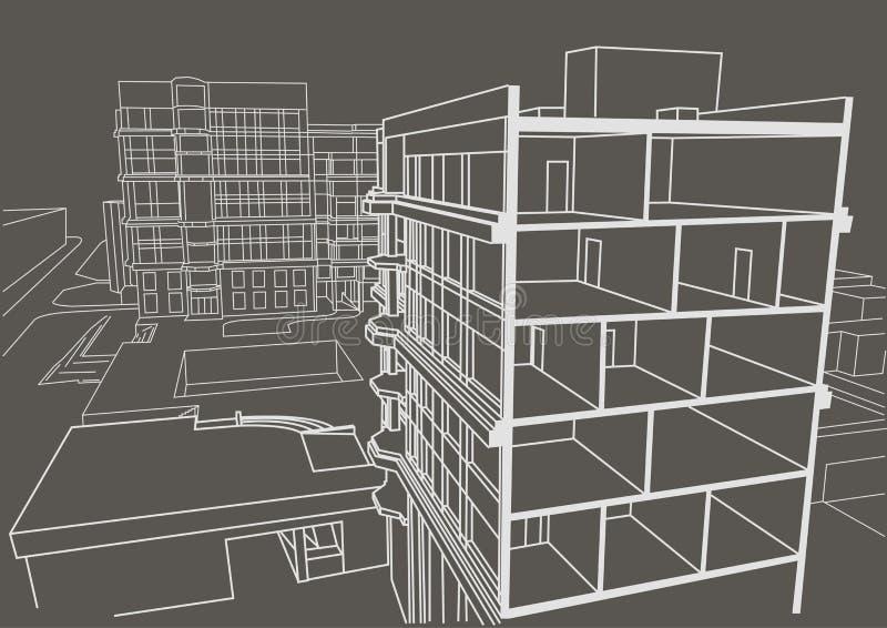 Αρχιτεκτονική γραμμική multistory πολυκατοικία σκίτσων Τμηματικό γκρίζο υπόβαθρο σχεδίων ελεύθερη απεικόνιση δικαιώματος