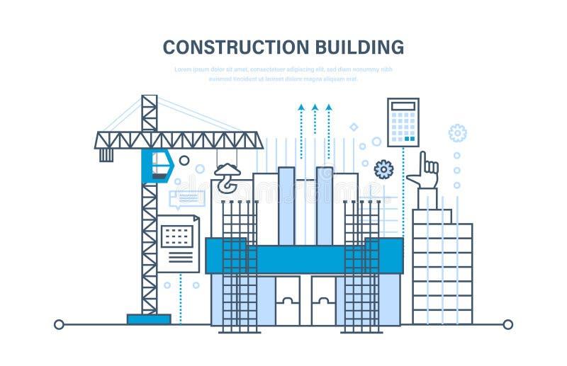 Αρχιτεκτονική εργασία οικοδόμησης, εργοτάξιο οικοδομής, με τον τεχνικούς εξοπλισμό και τις μηχανές απεικόνιση αποθεμάτων