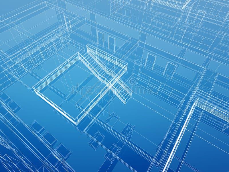 Αρχιτεκτονική εσωτερική συνδεμένη με καλώδιο ανασκόπηση διανυσματική απεικόνιση